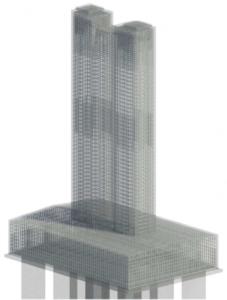 Výstúž podpery mosta v 3D (Revit)