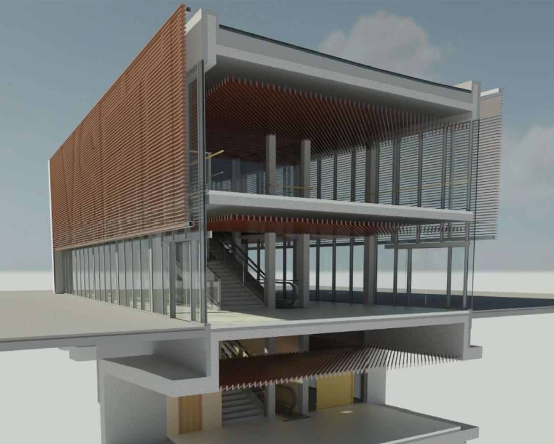 Dopravný terminál železničnej stanice (Revit)